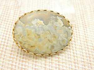 Brown-Tan-Gray-Agate-Oval-Gold-Tone-Pin-Brooch-Vintage