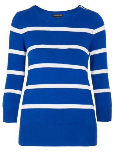 Jumper Blue ref Debenhams Ladies Shoulder Striped White 479 Zip New x5UYURqwP