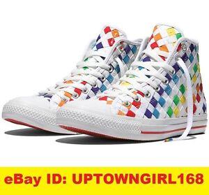 Converse Chuck Taylor ALL STAR HI Pride Rainbow Woven Shoes LGBT US ... fdb9d0792