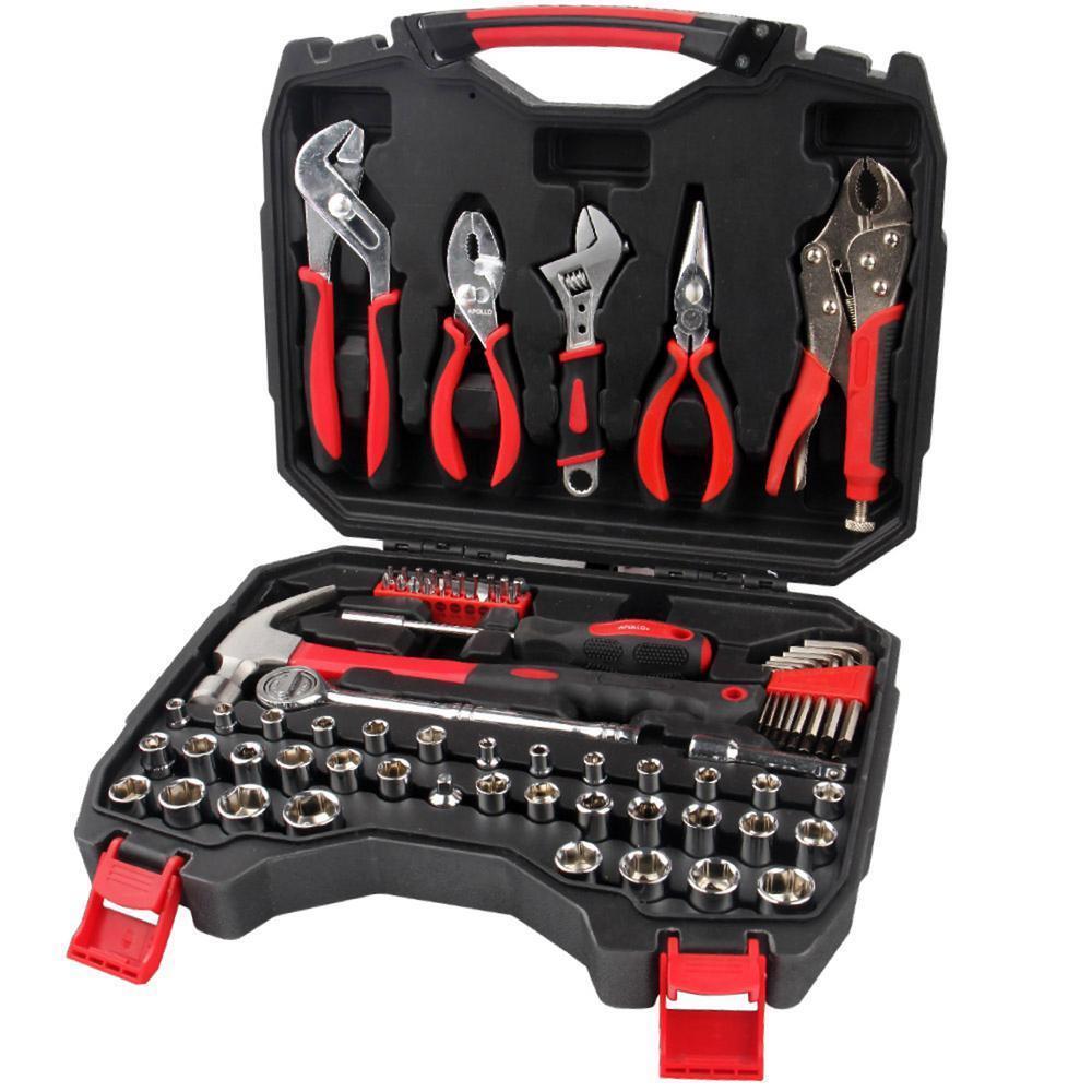 Mechanics Tool Kit Ergonomic Handle Grip with Sturdy Carrying Case (80-Piece)