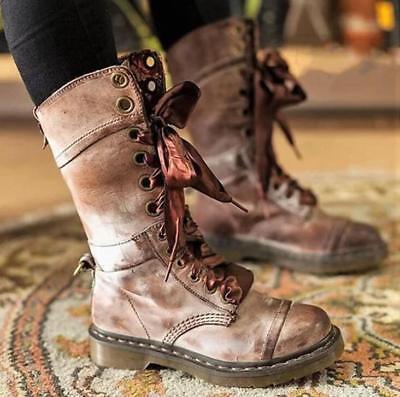 Womens Vintage Retro Flat Lace Up Punk Biker Ankle Mid calf Combat Boots Shoes