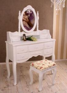 Détails sur Shabby Chic Console de Maquillage Table Toilette & Tabouret  Blanc Style Maison