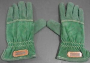WOMEN'S VINTAGE GRANDOE OUTDOORS GREEN LEATHER GLOVES SIZE MEDIUM