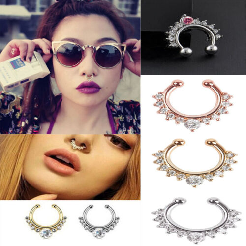 Fake Septum Clicker Crystal Nose Ring Non Piercing Hanger Clip On Jewelry Easy