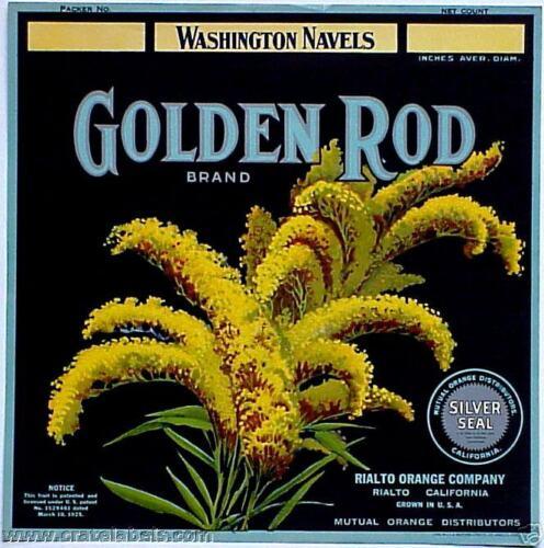 *Original* GOLDEN ROD Rialto HI-TOP Wash Navel Orange Crate Label NOT A COPY!