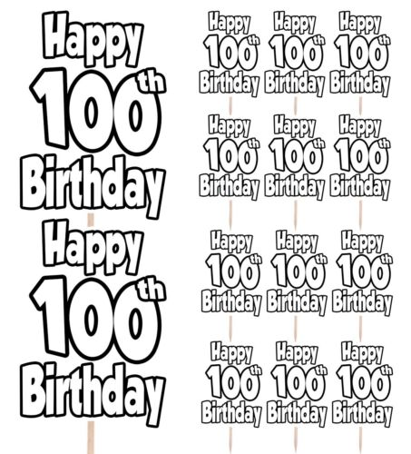14 Pack 100th Anniversaire Nombre Cupcake Party Food Cake Toppers Décoration Picks