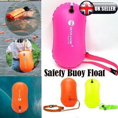 Hivis Orange Open Water Swimming Safety Buoy With Dry Bag and Cell Phone Case