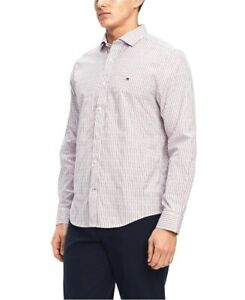 NEW-TOMMY-HILFIGER-CHILI-PEPPER-DASH-DOT-CLASSIC-100-039-S-2-PLY-DRESS-SHIRT-SIZE-S