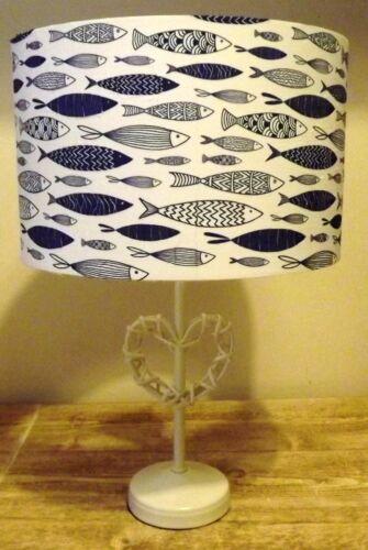 nautical FREE GIFT blue/&white shabbychic Fish Lampshade,Light shade