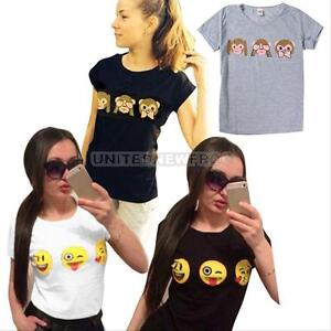 Womens-Summer-3D-Funny-Monkeys-EMOJI-Printed-T-Shirt-Blouse-Gothic-Tops-Tee-M-XL