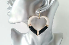 LARGE black - white & gold tone heart shaped big hoop drop / dangly earrings