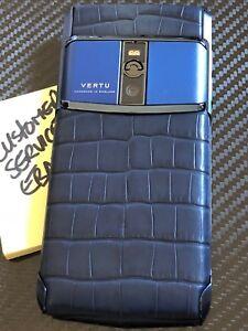 Brand-NEW-Genuine-Vertu-Signature-Touch-5-2-034-Pure-Navy-Alligator-Super-RARE