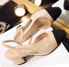 Runway Style Leather Slingback Sandals Beige or Black Heels Shoes Pump