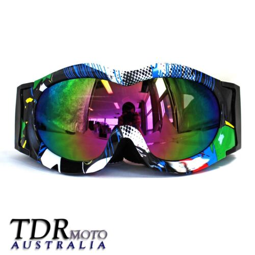 Kids Goggles Motocross MX ATV Quad Dirt Bike Skiing Skating Sports - Graffiti