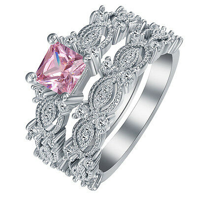 Fashion Women 925 Silver Solid Pink Topaz Ring Set Wedding Fashion Jewelry