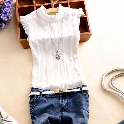 Fashion Women's Sleeveless Blouse Shirts OL Lady Casual T-Shirt Summer Tops