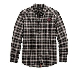 Harley-Davidson-Herringbone-Plaid-Shirt-Hemd-Gr-XXL-Herren-Braun-Weiss-kariert