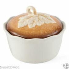 Set/2 Pumpkin Pie Baker Pan w/leaf lid 20oz 5x5x4 candy serving dish bowl NIB