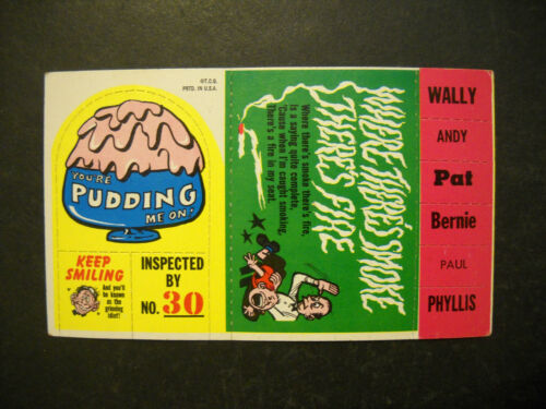1969 GROOVY STICKONS CARD WALLY TOPPS