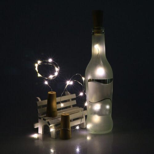 5PCS 2M 20LED Solar Cork Wine Bottle Stopper Copper Lamp Wire String Fairy Light