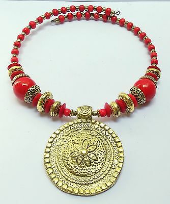 GoldTone Ethnic Beads Indian Women Choker Red Tribal Necklace Neck Piece Jewelry
