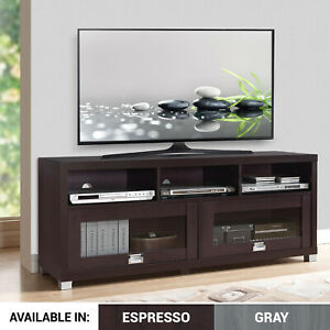 TV-Console-Wood-Stand-w-Cabinet-Storage-Shelf-Furniture-fits-55-65-up-75-Inch