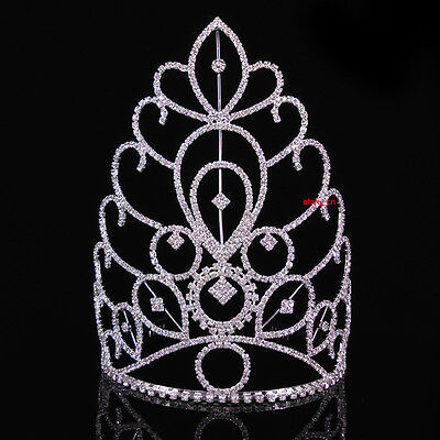 18cm High Large Full Crystal Wedding Bridal Party Pageant Prom Tiara Crown Combs