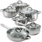 Heim's 12 Pieces Cooking Pots and Pans Kitchen Stainless Steel Cookware Set Lids