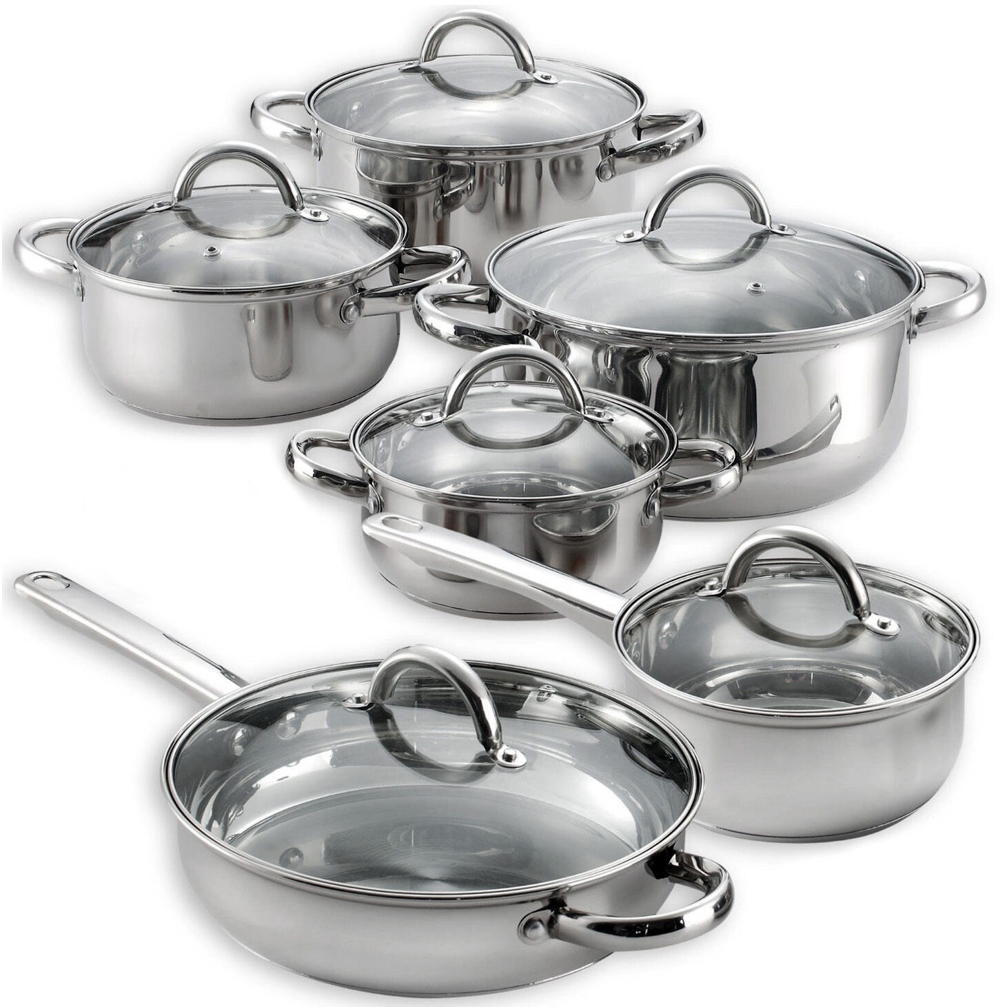 heim 39 s 12 pieces cooking pots and pans kitchen stainless steel cookware set lids ebay. Black Bedroom Furniture Sets. Home Design Ideas