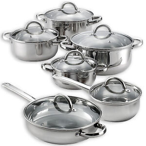 Details About Heims 12 Pieces Cooking Pots And Pans Kitchen Stainless Steel Cookware Set Lids