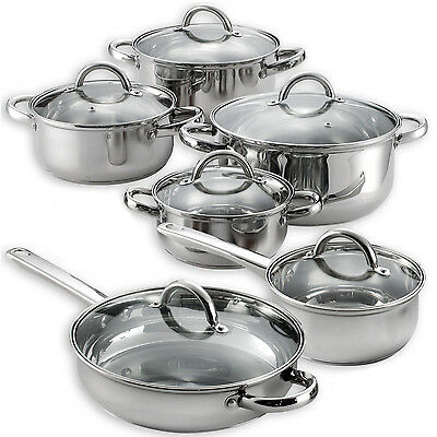 Heim S 12 Pieces Cooking Pots And Pans Kitchen Stainless Steel Cookware Set Lids 759883701060 Ebay