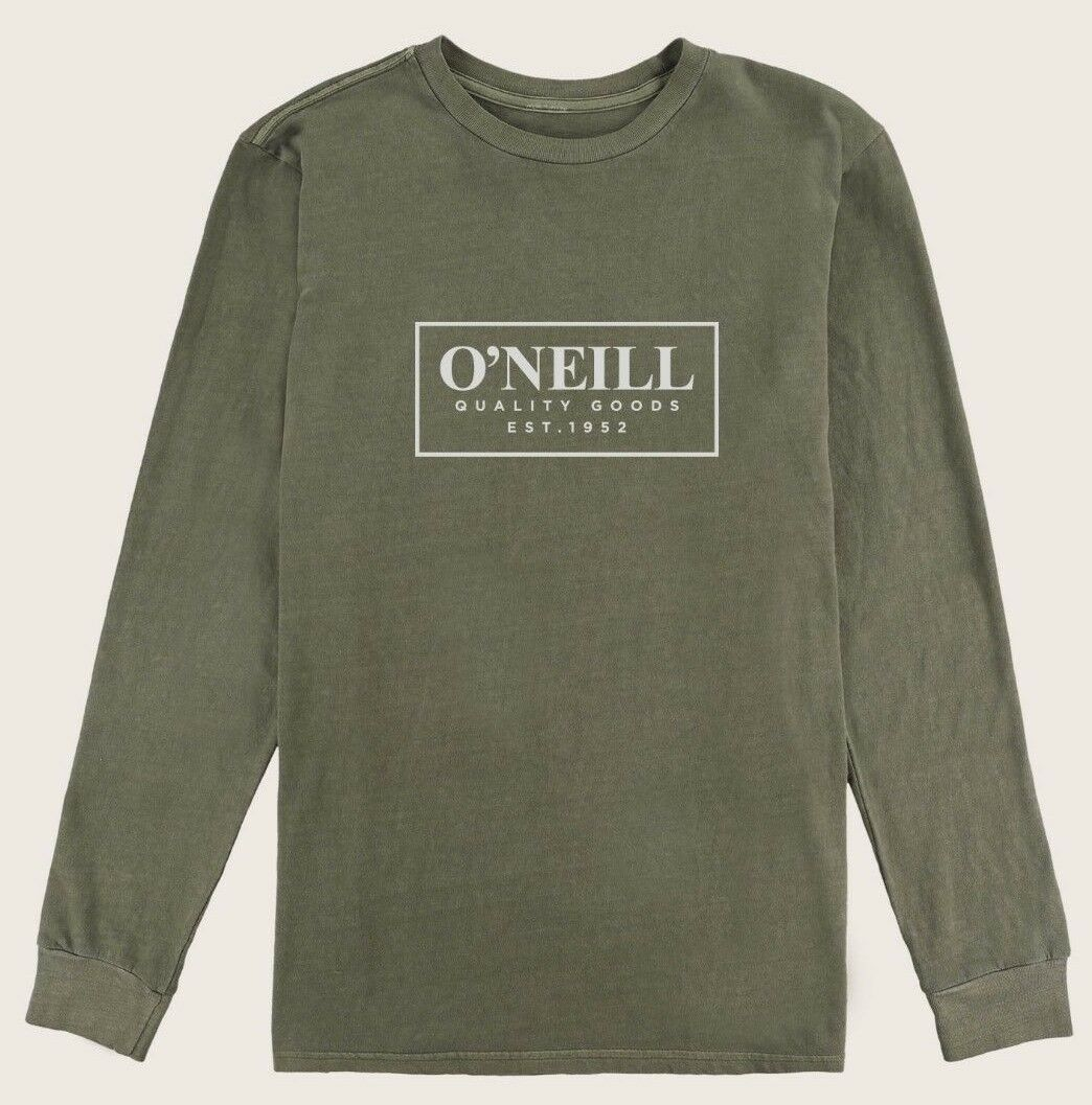 O'Neill GUSTO Mens 100% Cotton Long Sleeve T-Shirt Med. Military Green NEW 2018