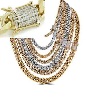 Miami-Cuban-Link-Chain-Necklace-Rhinestone-Clasp-18K-Gold-Plated-Stainless-Steel