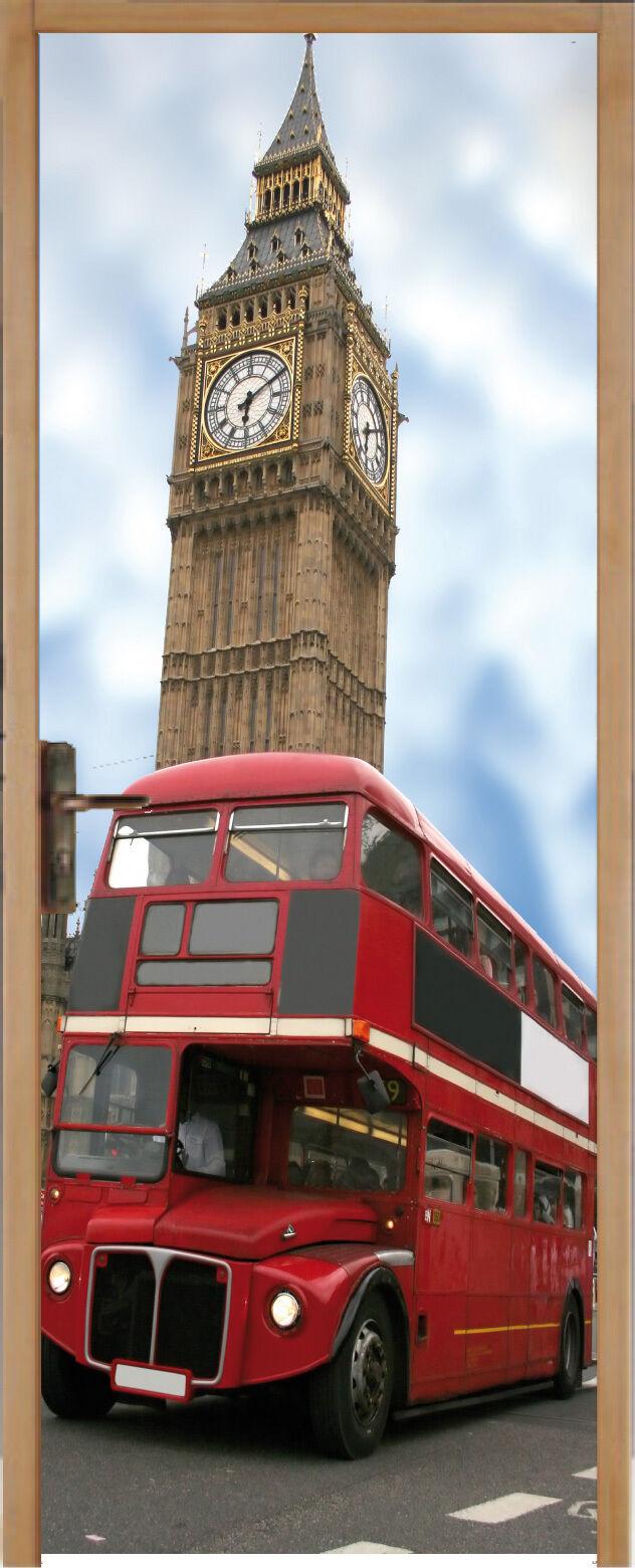 Adhesivo para Puerta Plana Autobús Londres 83x204cm Ref 202