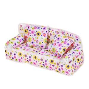 Dollhouse-Barbie-Furniture-Flower-Print-Sofa-Couch-2-cushions-Doll-Accessories