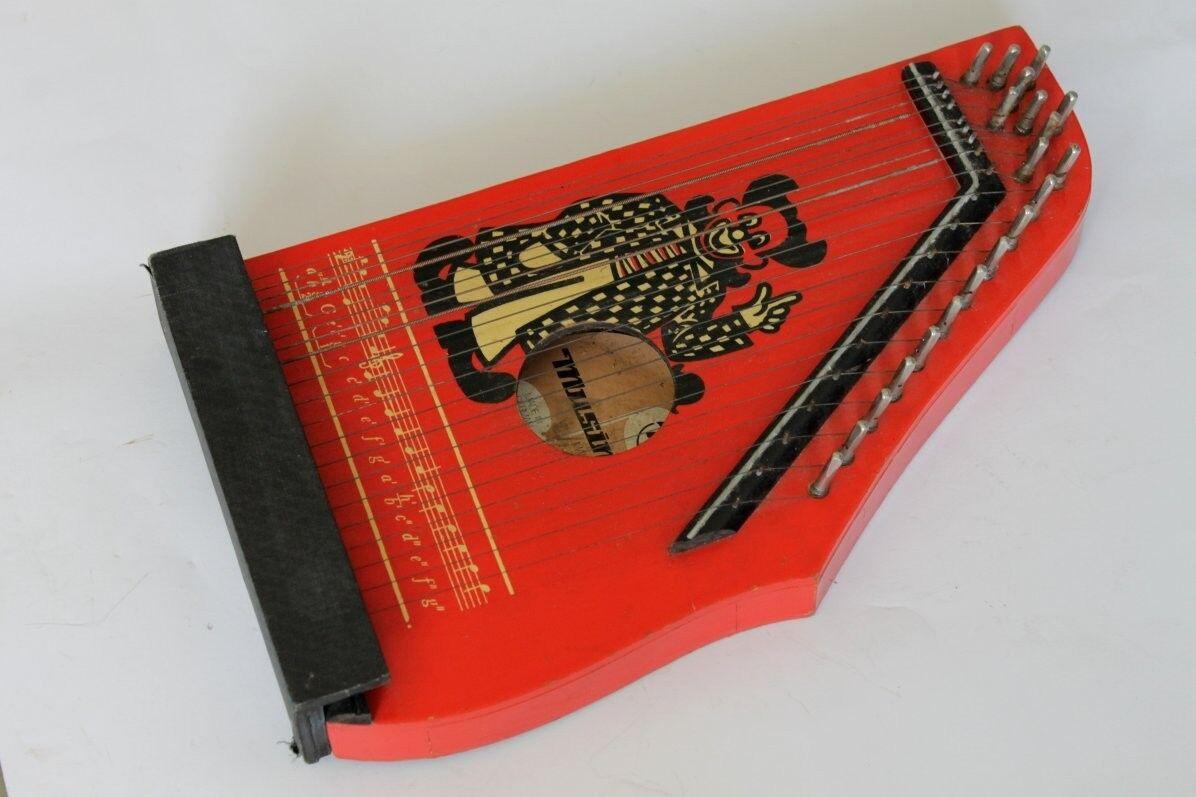 Vintage German MUSIMA Small String Harp Lute 1970's