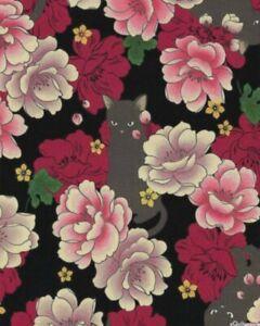 Quilt-Gate-Hyakka-Ryoran-Neko-Cat-Fabric-HR3110Y-11D-Black-w-Gold-Metallic-BTY