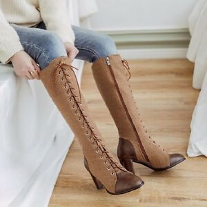 Women-Punk-Block-Heel-High-Top-Lace-Up-Riding-Knee-High-Boots-Party-Casual-Shoes