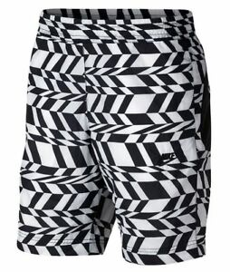 Nike Sportswear All Over Print Woven Shorts Black/White Size XL AO1116-100