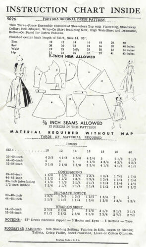 Por Fontana 1368 1952 Vintage patrón de costura B3-4 Vestido