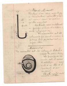 1880 science manuscript document physics manometer drawing atmospheric pressure