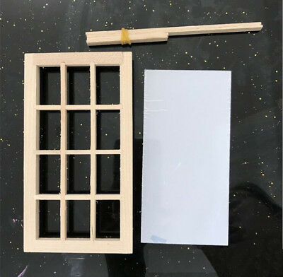 DIY Wooden Windows Rectangle Dollhouse 1:12 scale Furniture Accessories 2pcs