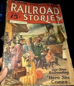 Very-Nice-Cover-Art-RailRoad-Stories-May-1936-Fair-Condition
