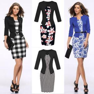 Women Business Office Work Formal Party Belt Bodycon Sheath Pencil Dress