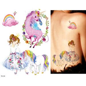 Rainbow Unicorn Pony Horse Temporary Tattoos Transfer Fake Tattoo