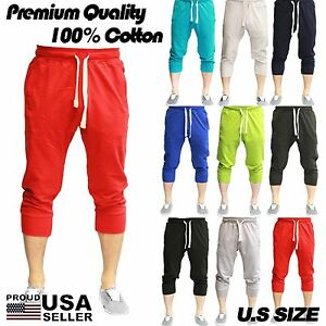 MEN'S IMPERIOUS 12 DIFFERENT COLORS FLEECE 3/4 CAPRI JOGGER ...