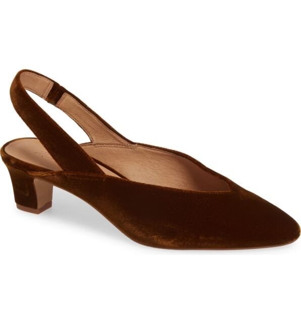Madewell The Franca Slingback Pumps Velvet Brown US Size 5 NWOB Heels