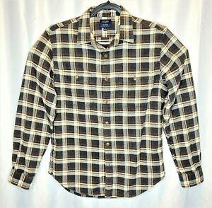 J-Crew-Flannel-Mens-Plaid-Longsleeve-Button-Down-Shirt-Medium-Gray-Brown