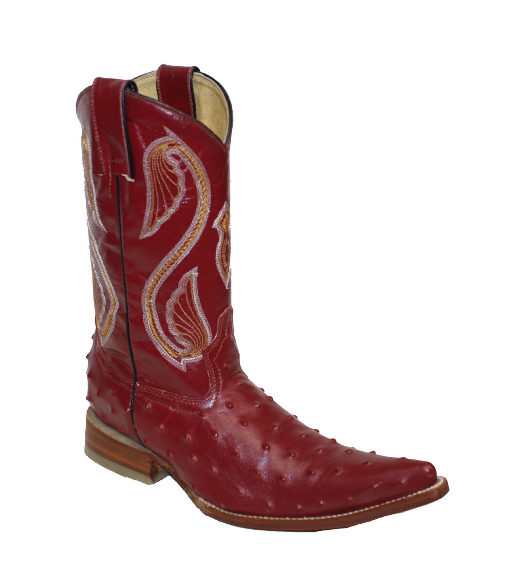 Women's Leather Cowboy Boot  Ostrich Print  Pointed Toe