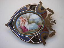 """Ovale Porzellanminiatur """" Mädchen mit Putto """" sign. Ribot- um 1900"""
